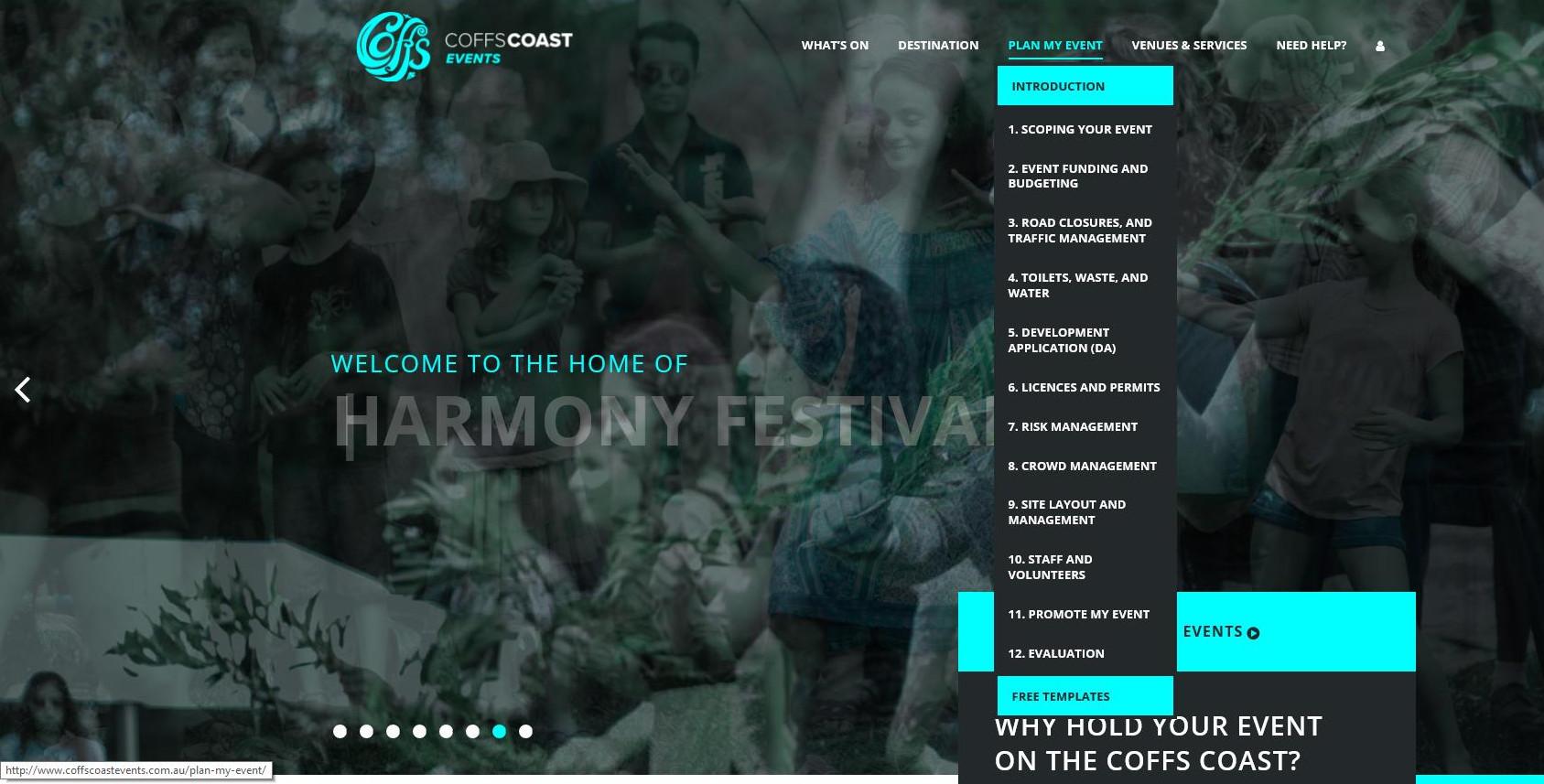 Coffs Coast Events website screenshot