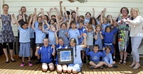 Upper Orara School pupils celebrate their WaterWise Refresher award.