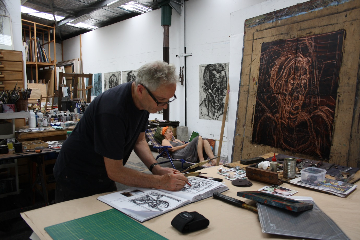 Fairbairn at work in his studio, courtesy of the artist