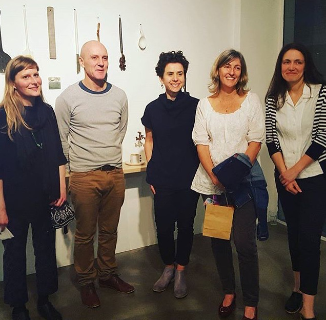 Cath Fogarty and artists from Contemporary Clay exhibition - (left to right) Ulrica Trulsson, Cone 11's Colin Hopkins and Ilona Topolcsanyi, Cath Fogarty and Tania Rollond.