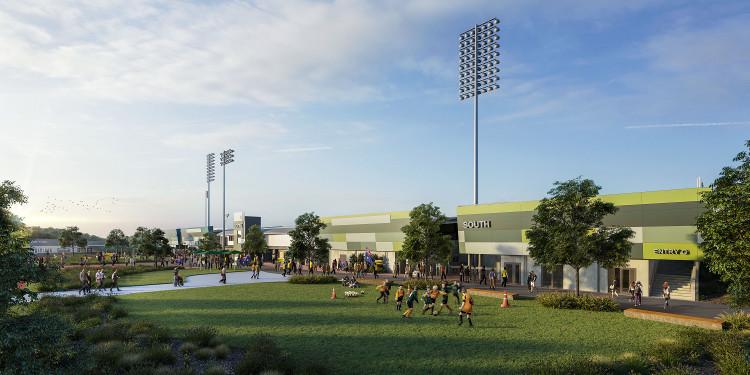 Artist's impression of finished stage 1 of the upgrade of C.ex Coffs International Stadium.