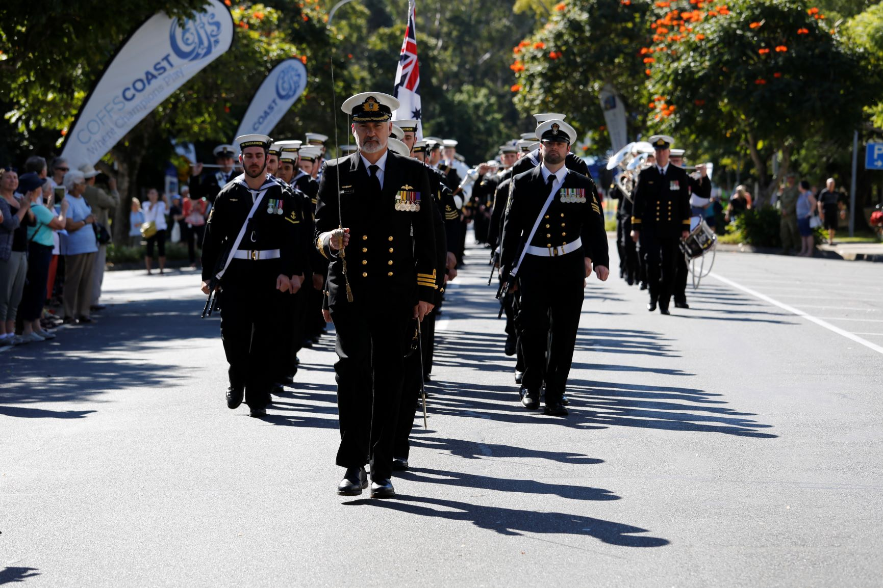 725 Squadron marching through Coffs Harbour.