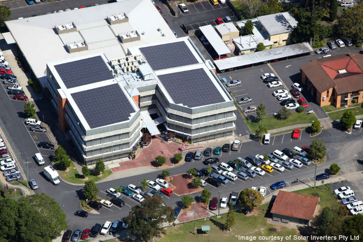 Solar array on top of Rigby House.
