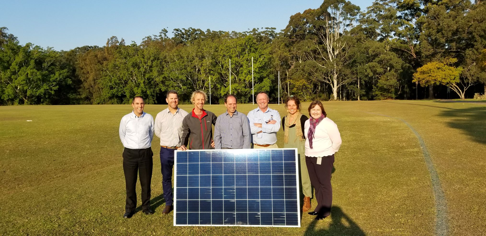 Pictured are (left to right): James Tonson (Corporate Sustainability and Planning Specialist), Jason Bradbrook (Solar Depot), Troy Ryan (Solar Depot), Kersten Schmidt (Enesol), Council Project Manager Greg Hughes, Heather Reid (Acting Section Leader Community Planning and Performance), Elisabeth Nicolson (Corporate Sustainability and Planning Specialist).
