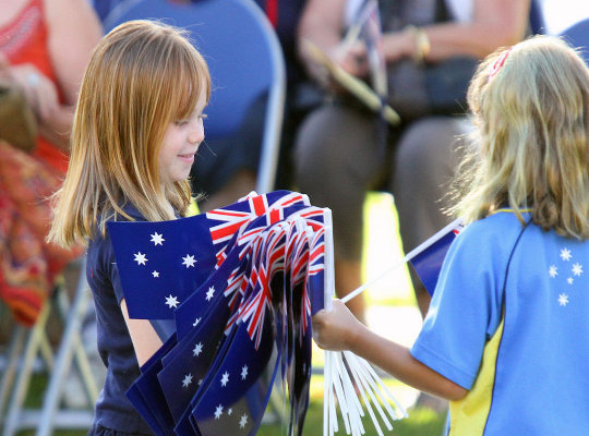 Australia Day - children with flags