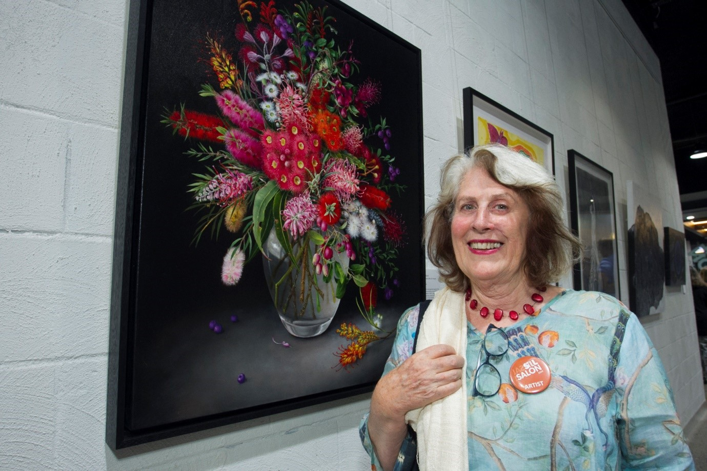Polly Wells with her People's Choice winning entry 'Flora Australis (After De Heem)'