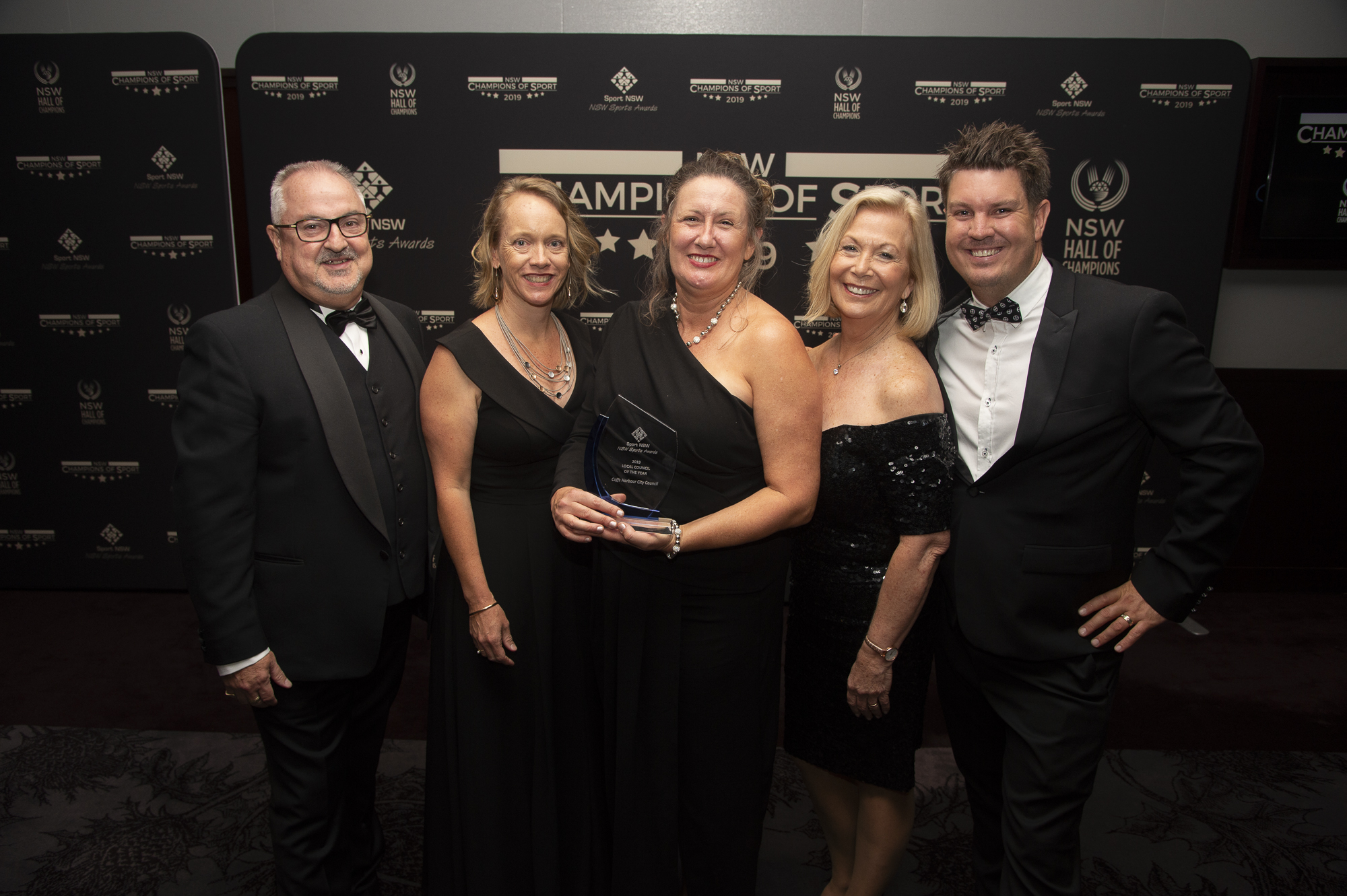 Pictured at the awards ceremony with GM Steve McGrath are Suellen Bordignon, Council's Sports Development Coordinator, Group Leader City Prosperity Nikki Greenwood, Mayor Denise Knight and Dan Heather, Council's Section Leader Stadium and Major Events.