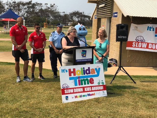 Pictured at the Launch are: Sydney Swans Players Sam Reid and Jake Lloyd, Senior Constable Judd Rowsell, Michelle McLaughlin, CEO and Founder of the Little Blue Dinosaur Foundation and Coffs Harbour Mayor Cr Denise Knight.