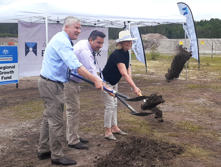 Deputy Prime Minister Michael McCormack, Pat Conaghan MP and Mayor Knight mark the start of works with a sod turning.