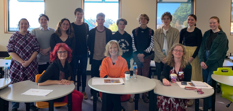 Students from Coffs Harbour Senior College, Cheryl Ward, Mayor Denise Knight and Ruth Coulter from Coffs Harbour Libraries.