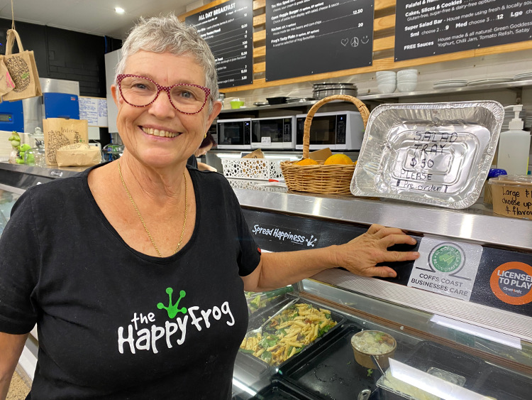 Kim-Towner-owner-of-The-Happy-Frog-with-her-Coffs-Coast-Business-Care-sticker