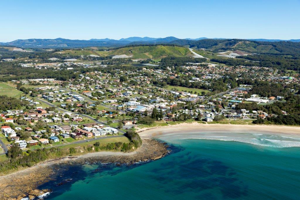 Aerial shot of Woolgoolga